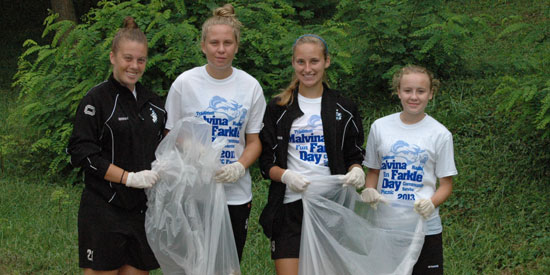 Members of the women's soccer team participated in the cleanup efforts on Malvina Farkle Day